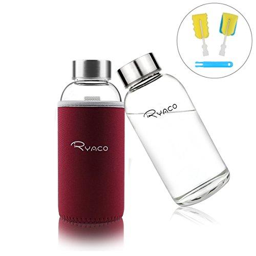 Ryaco Glasflasche Trinkflasche Classic Tragbare 360ml BPA-frei für unterwegs Sportflasche Glas Wasserflasche zum Mitnehmen von kalten Getränken mit Neopren Tasche und Schwammbürste (Weinrot, 360ml)