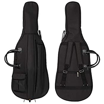 MI&VI Cello Soft Case Travel Gig Bag 4/4  Full Size  With Multiple Pockets and Adjustable Backpack Straps | 12mm Thick Padding | Waterproof | Non-Abrasive Lining - By MIVI Music