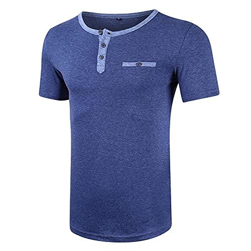 Camisa Hombre Verano Cuello Redondo Ajuste Regular Moderno Hombre Deportivas Camisa Personalidad Botones Tapeta Manga Corta Correr Shirt Ligero Transpirables Hombre Camisa D-Blue 1 XXL