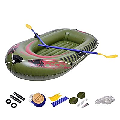 Inflatable Raft Boat, 2-Person Heavy Duty Fishing Air Kayak Canoe Set with Paddle Air Pump Wear-Resistant Fishing Boat Inflatable Kayak for Adults Fishing