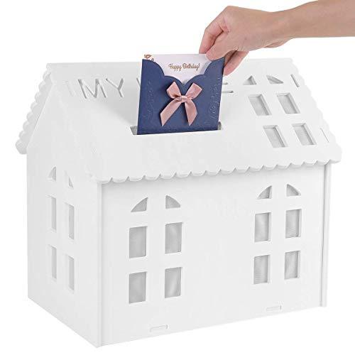 UNHO Caja para Tarjetas de Felicitación Caja de Dinero de Boda Caja Blanca de Ducha Nupcial con Ranura Organizador de Regalos para Boda Recepción Baby Shower Aniversario