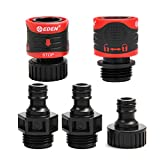Eden 95210 Premium Garden Hose Fitting Quick Connect with Water Stop & Lock Feature, 5 pc Set