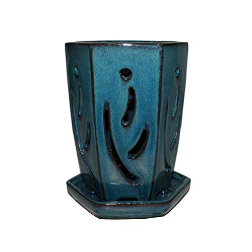 rePotme 4' x 6' Hexagon Ceramic Orchid Pot (Teal Jade)