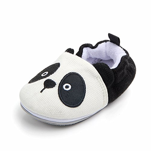 Lidiano Baby Non Slip Rubber Sole Slip On Knitiing Slippers Crib Shoes Infant/Toddler (12-18 Months, Panda)