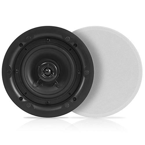 "6.5"" Ceiling Wall Dual Speakers - 2-Way Full Range Stereo Sound (Pair) Universal Flush Mount Design w/ 70Hz - 20kHz Frequency Response 480 Power Watts Peak & 2 Magnetic Speaker Grills - Pyle PWRC63"
