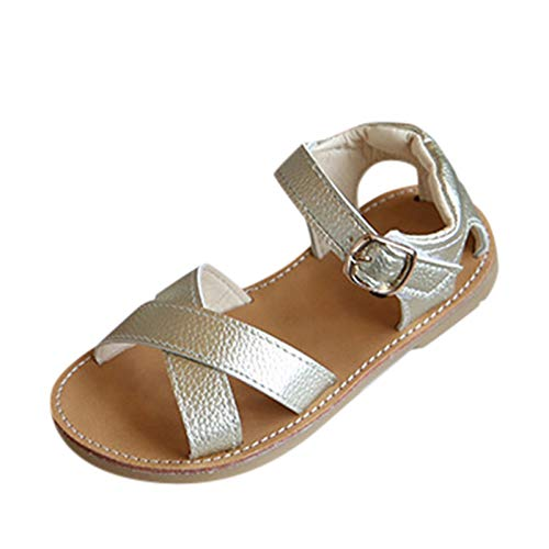 Baby Boys Girls Summer Sandals Infant Toddler Girl Princess Baby Shoes Solid Rubber Sandals Infant Cross Ankle Strap Outdoor Slipper Lightweight Soft Sole Anti-Slip Casual Toddler Shoes Gold