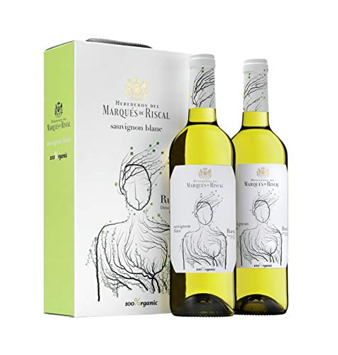 Marqués de Riscal - Vino blanco Sauvignon Blanc Denominación de Origen Rueda, Variedad 100% Sauvignon, 100% Organic con certificación ecológica - Estuche 2 botellas x 750 ml - Total: 1500 ml