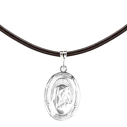 Córdoba Jewels | Gargantilla en Plata de Ley 925 con Medalla Virgen de la Inmaculada Cuero