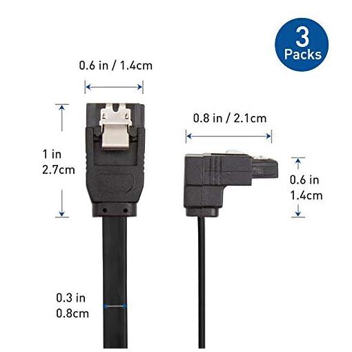 Cable Matters 3 Paquetes Cable SATA III de ángulo Recto de 90 Grados, Cable SATA III de 6.0 Gbps (SATA 3 Cable) Negro… 6