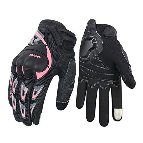 Guantes de Moto de Verano Malla Transpirable Guantes Llenos de Dedos con Pantalla Táctil para Motocicleta,Pink,M