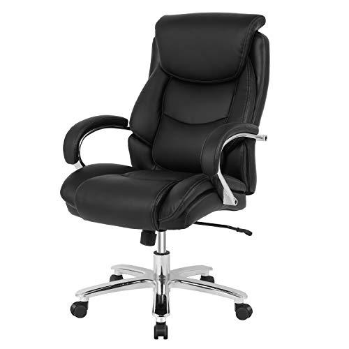 Smugdesk Executive Office Ergonomic Heavy Duty Computer Bonded Leather Adjustable Desk Chair, Black