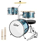 Eastar Kids Drum Kit 3 Piece fit for Age 3-10, Junior Drum Set with Snare, Tom, Bass Drum, Bass Drum Pedal, Throne, Cymbal and Drumsticks, Ideal Gift for Children Teens Beginners(Sky Blue)