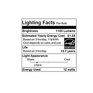 Sylvania Home Lighting 74425 A19 Sylvania Ultra 75W Equivalent LED Light Bulb, Dimmable, Efficient 12W 2700K (4 Pack), Soft White, 4 Piece