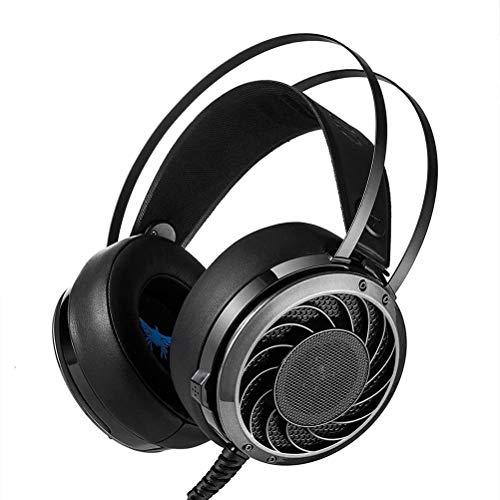 CSZH Casque de jeu stéréo professionnel 3.5 mm, pour Écouteurs Professional serre-tête confortable éclairage LED pour ordinateurs portables Ordinateurs PS4 ou téléphones mobiles