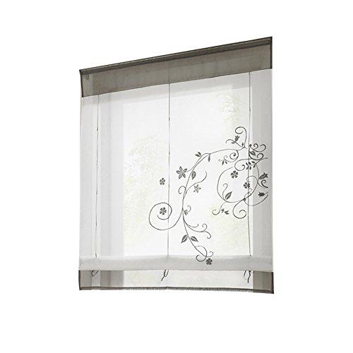 EDQZ Römische Jalousien, Römische Blätter Gesticktes Fenster Vorhang Set Jalousien Tür Bildschirm Raumteiler Grau 80 x 120 cm