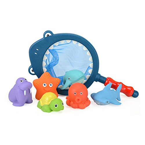TOYMYTOY 7 stück Badewannen Spielzeug Wasserspielzeug Meerestiere mit Fischernetz Kinder Baby Badespaß