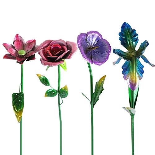 decorative garden stakes Metal Flower Garden Stake Cute Metal Flower Stick Art Ornament Decor Spring Floral Outdoor Flower Garden Stakes, 4 Pcs
