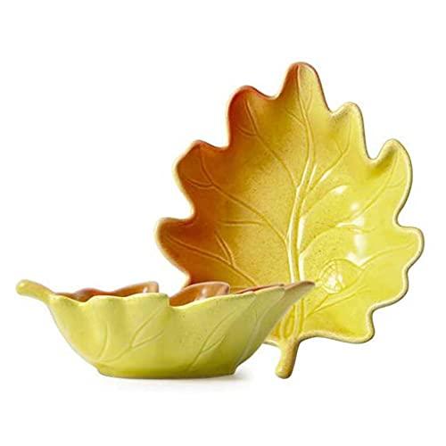 TJH Cuenco en Forma de Hoja, vajilla Personalizada, Cuenco de Ensalada para el hogar, Cuenco de Fruta de cerámica Creativo de Color Puro nórdico de Postre
