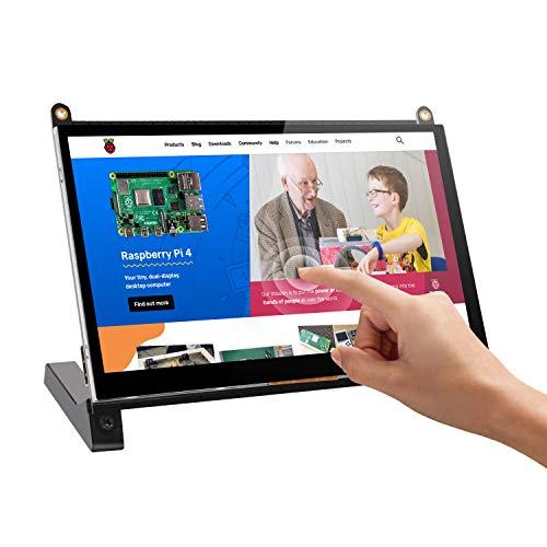 Tragbarer Raspberry PI Monitor mit Touch Screen, UPERFECT 7 Zoll HDMI Portable Display 1024x600 Kompatibel mit 1920x1080 Dual Eingebaute Lautsprecher für Raspberry PI 4 3 B+ für Eigenes Projekt