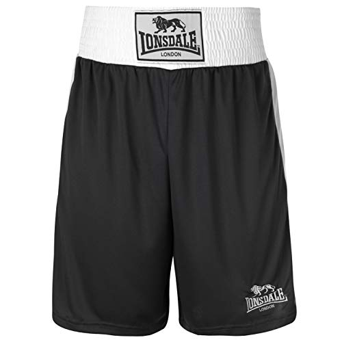 Lonsdale Herren Boxing-Shorts, kurze Hose, Training-Shorts, Sporthose Medium schwarz / weiß