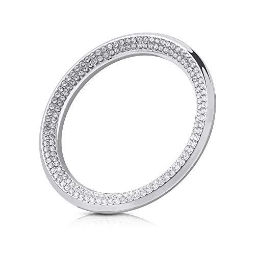 kwmobile Pegatina para Volante Compatible con BMW BMW Car Wheel Logo Ring - Adhesivo Brillante para Coche Plata