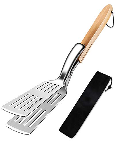 MOSFiATA-Grillschaufel, Grillbesteck Kompakt 2-teilig mit Schlitzschliff Turner-Multifunktions-Grillschaufel mit extra langem Eichengriff, vielseitigem und langlebigem Turner-Küchenherd