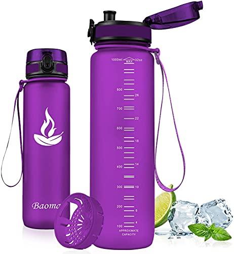 Baomay Borraccia Sportiva Bottiglia d'Acqua in Plastica con Filtro - 500ml Borracce per Bambini, Bici, Scuola Zaino, Palestra Sport | Tritan Senza-BPA & Prova di Perdite (Orchid)