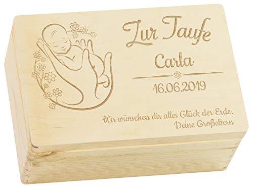 LAUBLUST Holzkiste mit Gravur - Personalisiert mit Name | Datum | WIDMUNG - Natur Größe M - Blumenbaby Motiv - Geschenkkiste zur Taufe