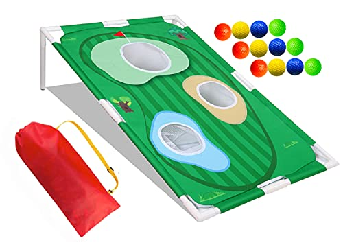 Hontu Backyard Golf Cornhole Chipping Game with 12 Foam Balls and Carry Bag,Portable Golf Swing Practice Target for Kids Men Golf Game Indoor Outdoor