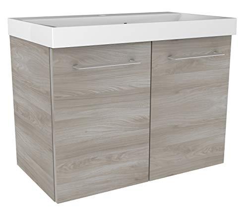 FACKELMANN Waschtischunterschrank Lima/Badschrank mit Soft-Close-System/Maße (B x H x T): ca. 60 x 42 x 35 cm/hochwertiger Badezimmerschrank/Korpus: Braun/Front: Braun