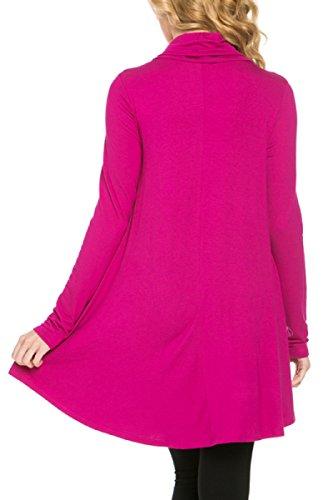 2LUV vestido de túnica de manga larga con cuello de vaca y línea A para mujer - Morado - Small