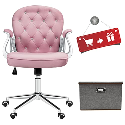 JL Comfurni Crushed Velvet Fabric Home Office Chair Swivel High Adjustable Computer Girl Desk Chairs Graceful Reception Chairs (Pink)…