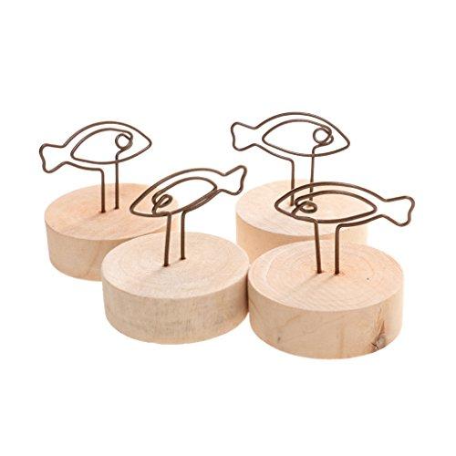 10pcs Hochzeit Platzkartenhalter Sitzkartenhalter Tischkartenhalter Holz Klammern Clip Holzsockel - Fisch, L