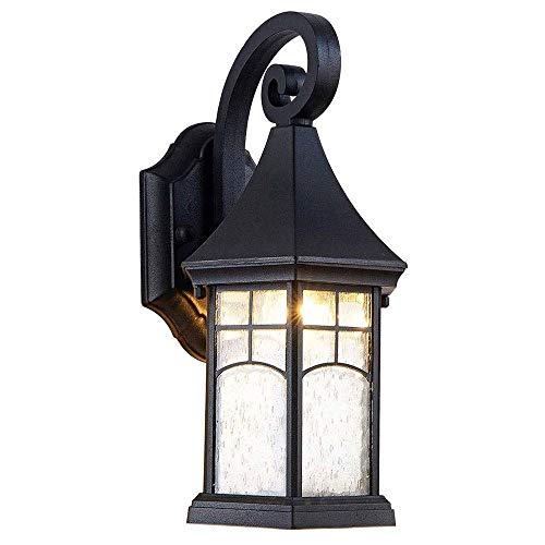 Buiten Wandlamp, Buiten Wall Mount lantaarn licht met zwarte finish met Bel Glass Lamp Shade, Modern buiten verlichting