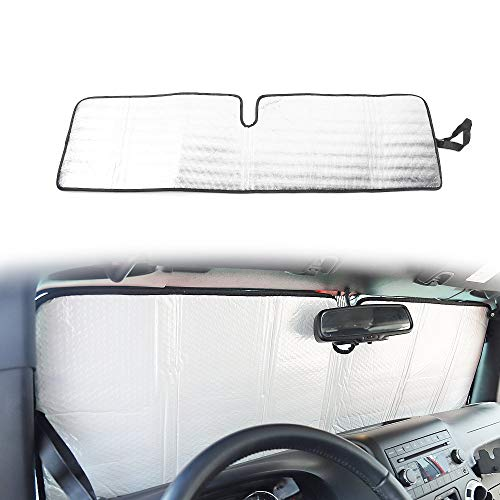 Windshield Sun Shade, Car Front Window Sunshade Foldable Sun Visor Protector for Jeep Wrangler TJ JK JKU 2 Door & 4 Door