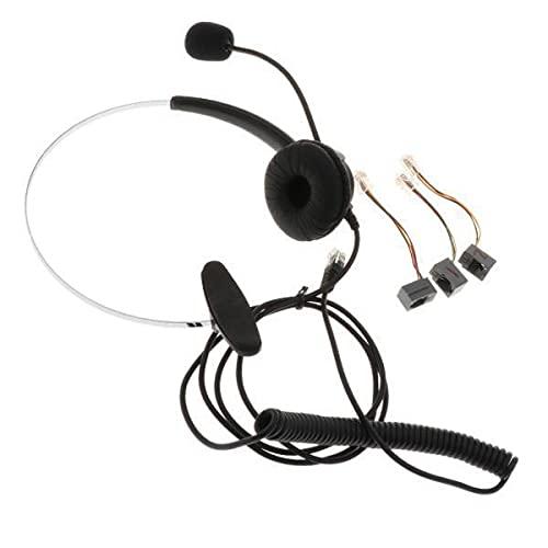MagiDeal 3xCall Center Auriculares para Teléfono de Oficina Monoaurales Y Cable en Espiral Conector RJ9 para