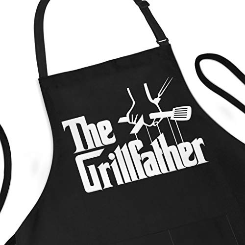 APRON DADDY Aprons for Men - The Grillfather - BBQ Apron for Grilling - Extra Large 1 Size Fits All - Poly/Cotton Apron with 2 Pockets - Grill Father Gift for Cooking Dad, Husband