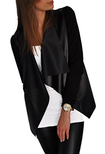 Mikos Giacca da Donna Sportiva Cardigan Streetwear Sexy Look Pelle Sintetica (192) (44 (L))