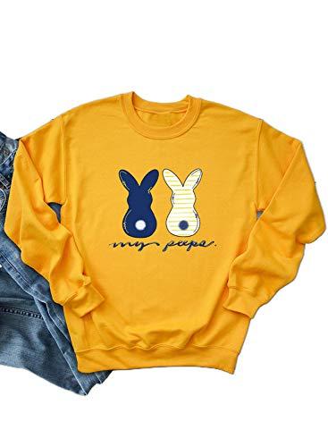 Camisas de Pascua para Mujer Cuello Redondo Manga Larga Conejos Patrón Letras Imprimir Pullover Tops