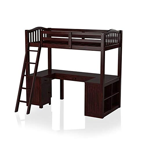 Furniture of America Franklyn Wood Twin Loft Bed with Desk in...