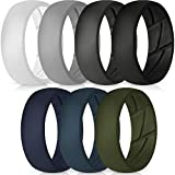 ThunderFit Silicone Wedding Rings for Men - 7 Rings (Light Grey, Dark Grey, Dark Blue, White, Black, Dark Teal, Olive Green, 9.5-10...