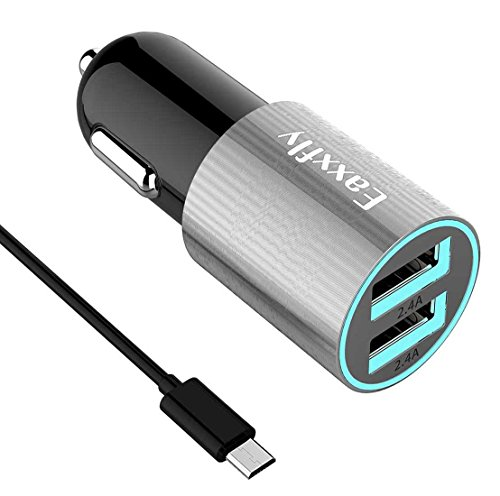 Eaxxfly USB Car Charger (4.8A / 24W), for Samsung Galaxy S7 Edge/S7/S6/Edge/S5, Note 5/4, LG G4/V10,HTC One M8/M9,Sony Xperia and More,with 1-Pack 3.3ft Micro USB Cord (Gray)