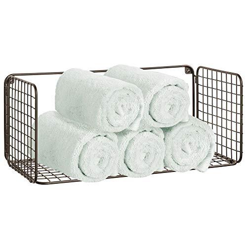 mDesign Balda para baño plegable – Práctica repisa de pared de alambre metálico – Cesta de alambre para guardar toallas de baño, champú y más – Estante de metal con diseño de rejilla – color bronce