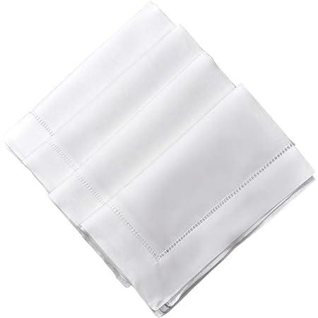 DAMASK Napkins for Tablecloth Replacement Set Vintage LARGE LINEN Crisp White Set 4