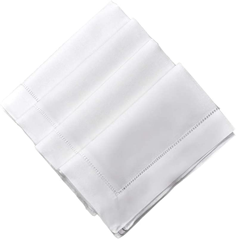 Bumblebee Linens White Linen Dinner Napkins 20 X 20 Inch Set Of 4 Hemstitched Cloth Fabric Table Wedding Napkin Washable Hotel
