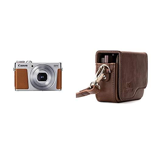 Canon PowerShot G9 X Mark II Kompaktkamera (20,1 MP, 7,5cm (3 Zoll) Display, WLAN, 1080p) Silber & MegaGear MG1222 Canon PowerShot G9 X Mark II, G9 X Leder Kameratasche mit Trageriemen - Dunkelbraun