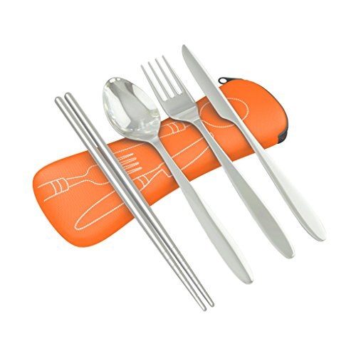 Roaming Cooking Reusable Travel Utensils with Case | Fork and Spoon Set with Knife, Chopsticks and Optional Reusable Straw– Office, Travel, or Camping Accessories| Lightweight Sturdy Reusable Utensils