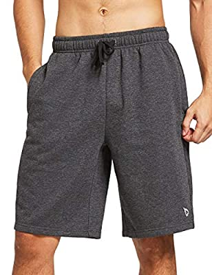 BALEAF Men's Fleece Gym Shorts Cotton 9 Inches with Zipper Pockets for Home Fitness Workout Casual Charcoal L