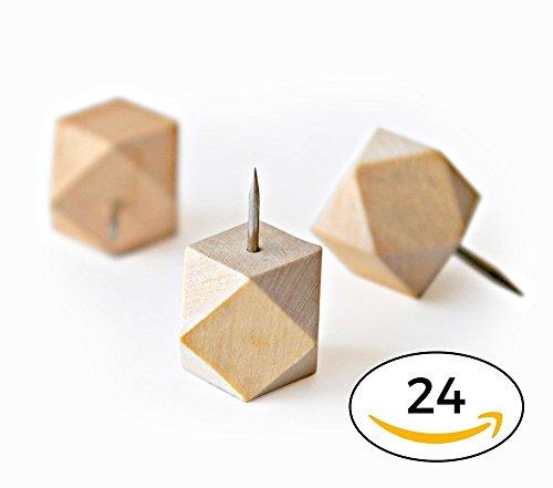 Wood Push Pins - Geometric Solids Series - Original Hexie Co Wooden Thumb Tacks (24 Geometric)