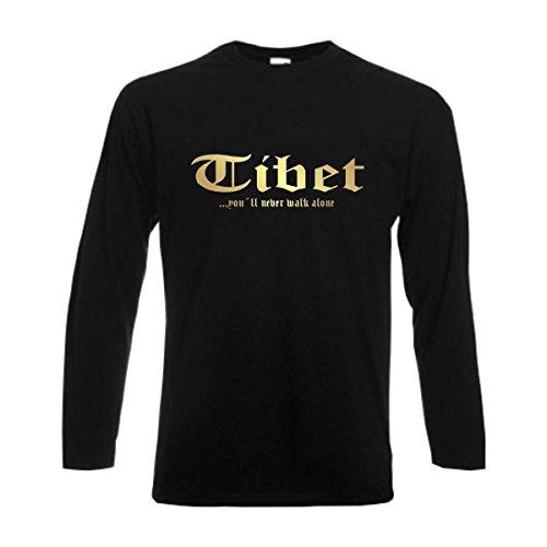 Longsleeve Tibet Never Walk Alone Herren Langarm T-Shirt Länder Fanshirt schwarz auch große Größen Übergrößen (WMS01-63b) XXL